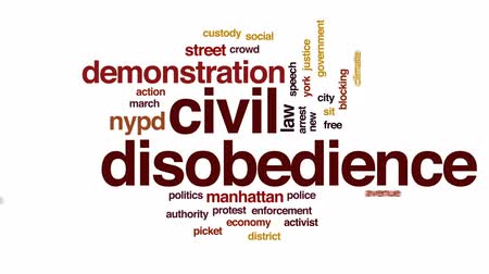ralli : Civil disobedience animated word cloud, text design animation. Stok Video