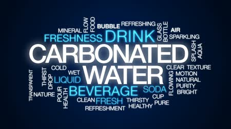 karbonatlı : Carbonated water animated word cloud, text design animation.