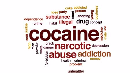 coque : Cocaine animated word cloud, text design animation.