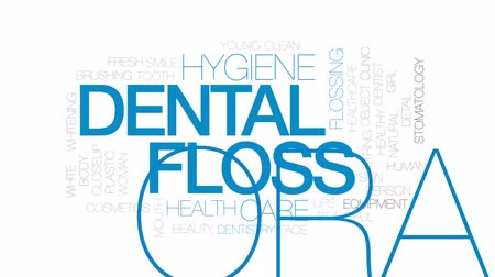 stomatologia : Dental floss animated word cloud, text design animation. Kinetic typography.