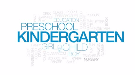 pré escolar : Kindergarten animated word cloud, text design animation. Kinetic typography. Stock Footage