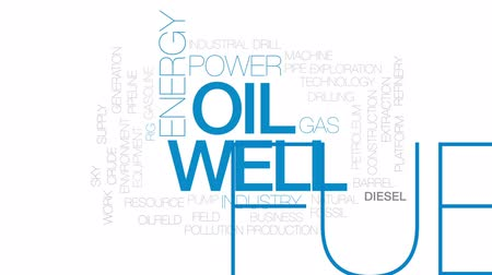 csővezeték : Oil well animated word cloud, text design animation. Kinetic typography. Stock mozgókép
