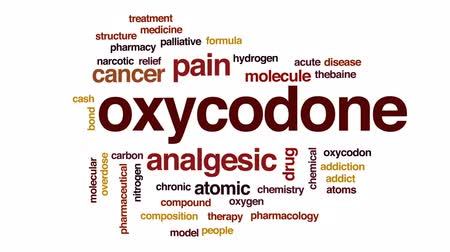 atomů : Oxycodone animated word cloud, text design animation.