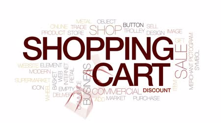 add to cart : Shopping cart animated word cloud, text design animation. Kinetic typography.