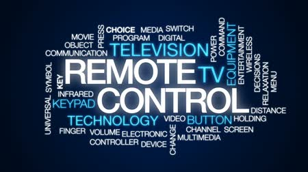 komuta : Remote control animated word cloud, text design animation. Stok Video