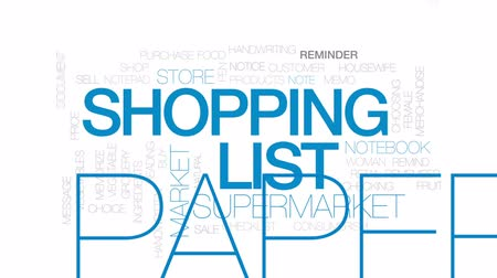 memo : Shopping list animated word cloud, text design animation. Kinetic typography.