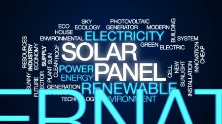 kolektor : Solar panel animated word cloud, text design animation.