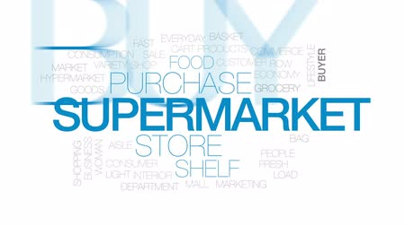 mindennapi : Supermarket animated word cloud, text design animation. Kinetic typography.