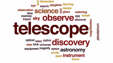 descobrir : Telescope animated word cloud, text design animation. Stock Footage