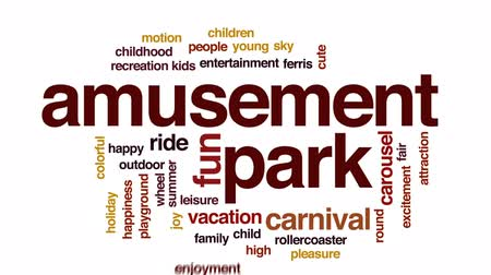 plac zabaw : Amusement park animated word cloud, text design animation.