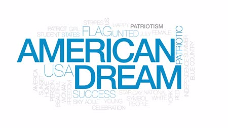 usa independence day : American dream animated word cloud, text design animation. Kinetic typography.