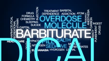 sedative : Barbiturate animated word cloud, text design animation.