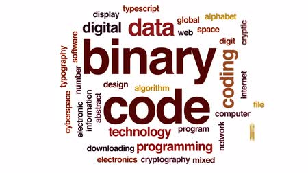 strojopis : Binary code animated word cloud, text design animation. Dostupné videozáznamy