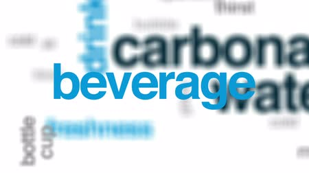 cold drinks : Carbonated water animated word cloud, text design animation.