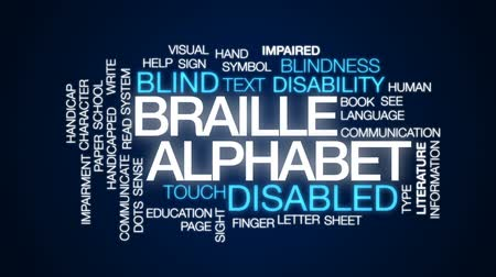impaired : Braille alphabet animated word cloud, text design animation.