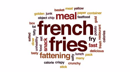картофель фри : French fries animated word cloud, text design animation.