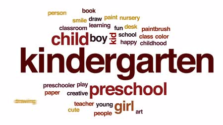 pré escolar : Kindergarten animated word cloud, text design animation.