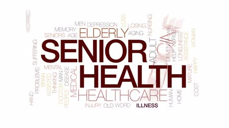 idade média : Senior health animated word cloud, text design animation. Kinetic typography.