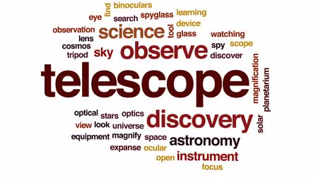 nagyítóüveg : Telescope animated word cloud, text design animation. Stock mozgókép