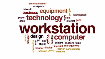 oturum : Workstation animated word cloud, text design animation.