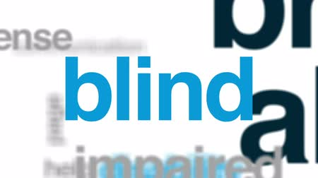 blindness : Braille alphabet animated word cloud, text design animation.