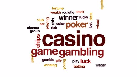 покер : Casino animated word cloud, text design animation. Стоковые видеозаписи