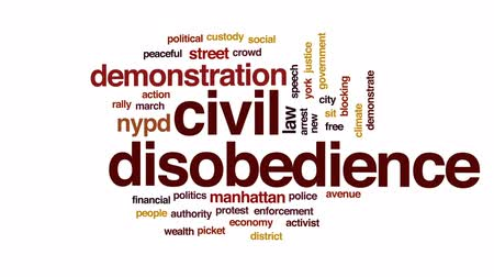 autoridade : Civil disobedience animated word cloud, text design animation. Stock Footage