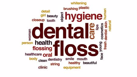 brushing : Dental floss animated word cloud, text design animation.