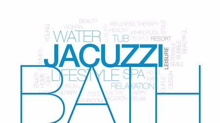 bez szwu : Jacuzzi animated word cloud, text design animation. Kinetic typography.