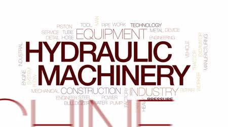 hidráulico : Hydraulic machinery animated word cloud, text design animation. Kinetic typography. Stock Footage