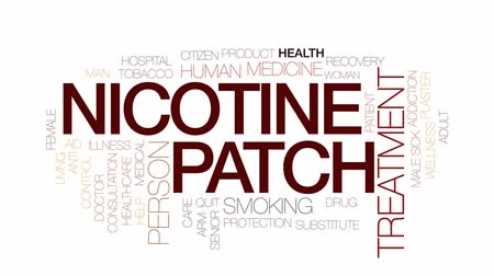 addiction recovery : Nicotine patch animated word cloud, text design animation. Kinetic typography.