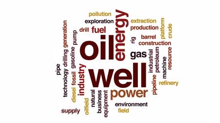 csővezeték : Oil well animated word cloud, text design animation.