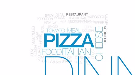 cheese slice : Pizza animated word cloud, text design animation. Kinetic typography.