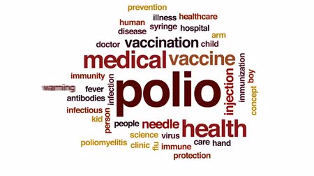 infectious : Polio animated word cloud, text design animation. Stock Footage