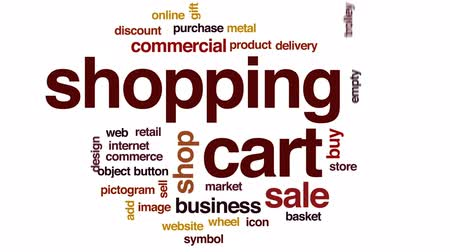 add to cart : Shopping cart animated word cloud, text design animation.
