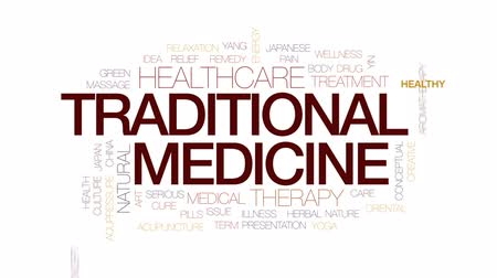 akupresura : Traditional medicine animated word cloud, text design animation. Kinetic typography.