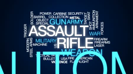 przemoc : Assault rifle animated word cloud, text design animation.