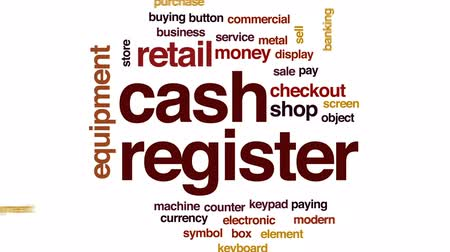 pokladna : Cash register animated word cloud, text design animation.
