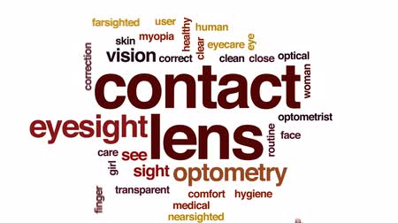 wzrok : Contact lens animated word cloud, text design animation. Wideo