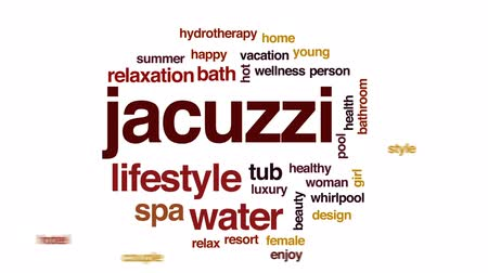 küvet : Jacuzzi animated word cloud, text design animation.