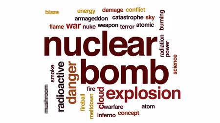 взрывной : Nuclear bomb animated word cloud, text design animation.