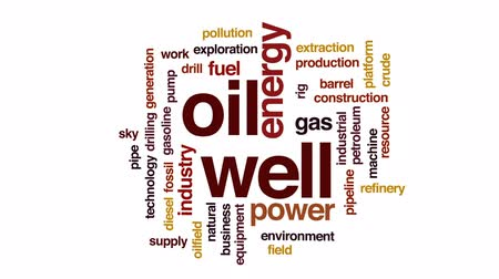 broca : Oil well animated word cloud, text design animation.
