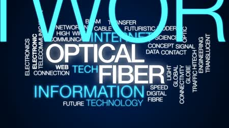 sinal : Optical fiber animated word cloud, text design animation. Stock Footage