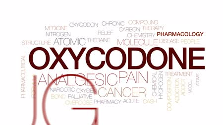 atomic model : Oxycodone animated word cloud, text design animation. Kinetic typography.