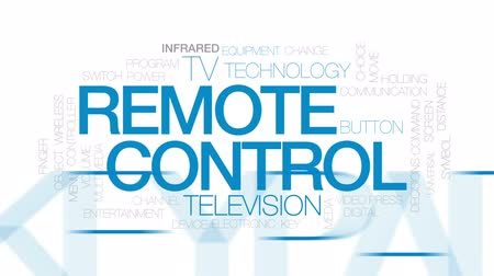 tv channel : Remote control animated word cloud, text design animation. Kinetic typography. Stock Footage