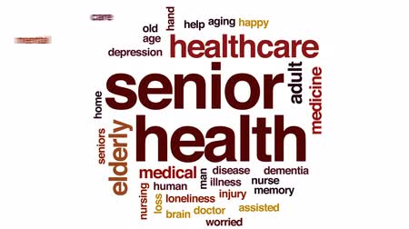 felnőtt : Senior health animated word cloud, text design animation.
