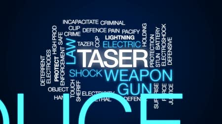 sheriff : Taser animated word cloud, text design animation.