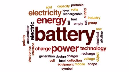 alkaline : Battery animated word cloud, text design animation.