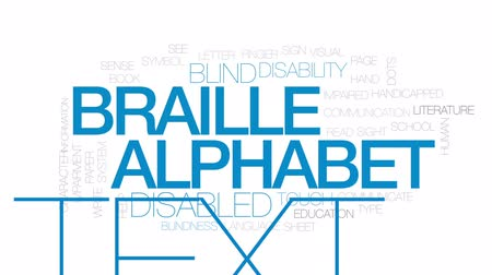 blindness : Braille alphabet animated word cloud, text design animation. Kinetic typography.