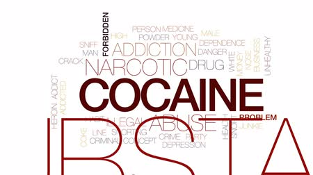 viciado : Cocaine animated word cloud, text design animation. Kinetic typography.